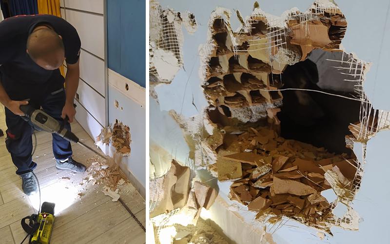 Apartman boşluğuna düşen köpeği itfaiye kurtardı