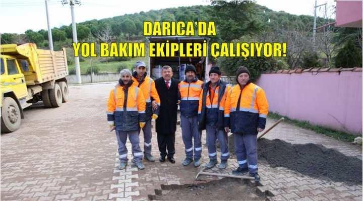 DARICA'DA YOL BAKIM EKİPLERİ ÇALIŞIYOR