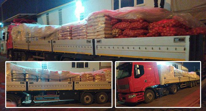 Depremzedeler için kuru gıda dolu TIR'lar yola çıktı