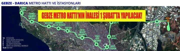 Gebze Metro Hattı'nın ihalesi 1 Şubat'ta yapılacak