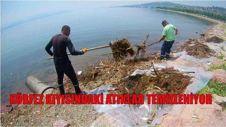 Körfez kıyısındaki atıklar temizleniyor