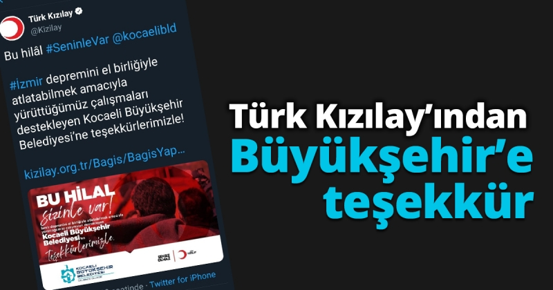 Türk Kızılay'ından Büyükşehir'e teşekkür