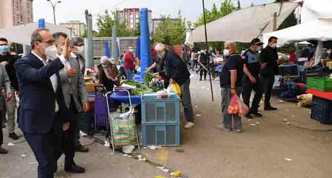 Vali Yavuz Semt Pazarlarında Alınan Tedbirleri Yerinde İnceledi
