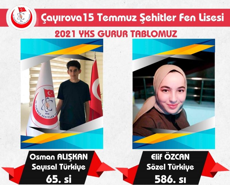 Çayırova'dan YKS de Türkiye Derecesi