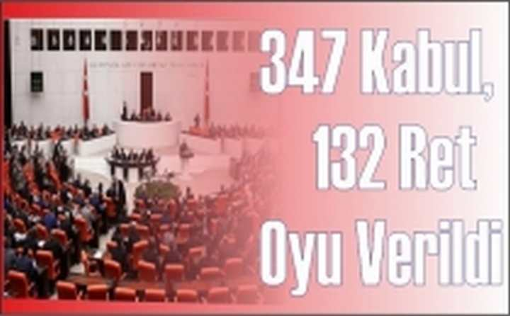 Anayasa Değişikliğine  347 Kabul, 132 Ret Oyu Verildi