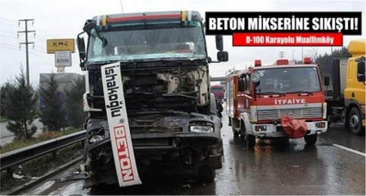 BETON MİKSERİNE SIKIŞTI!