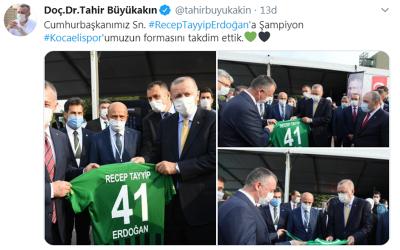 Büyükakın'dan Erdoğan'a Kocaelispor forması
