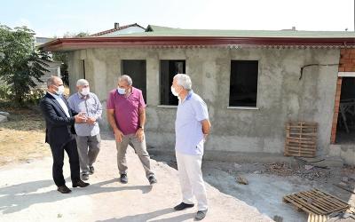 Çamlıtepe'de mescit inşaatında sona doğru