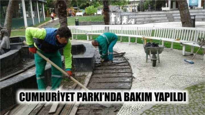 CUMHURİYET PARKI'NDA BAKIM YAPILDI