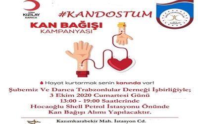 """Darıca'da Trabzonlulardan """"Kan Dostum"""" kampanyası"""
