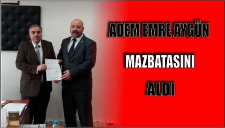 Mhp Darıca İlçe başkanı Adem Emre Aygün mazbatasını aldı