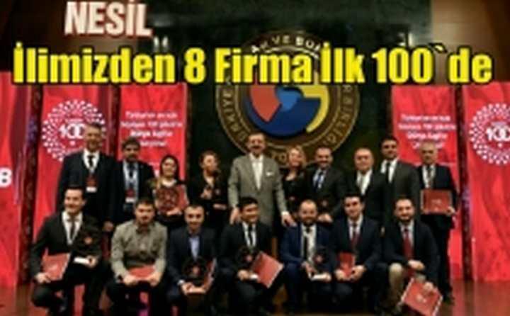Türkiye 100'de Kocaelili 8 firma yer aldı